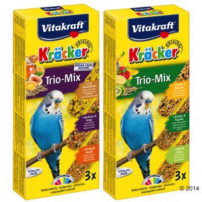 Vitakraft Kräcker Trio-Mix för undulater – Ekonomipack: Sesam/Örter/Kiwi 3 st 2 x 3 st