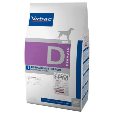 Virbac D1 Veterinary HPM Dermatology Support - 2 x 12 kg - Pack Ahorro