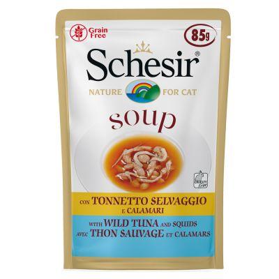 Schesir Soup 6 x 85 g sopa para gatos - Atún salvaje y calabaza