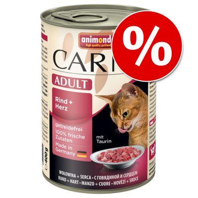 Animonda Carny kissanruoka 24 x 400 g erikoishintaan! - Adult: nauta & sydän