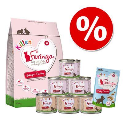 Feringa Kitten - Pack de inicio - 400 g pienso + 6 x 200 g latas con pollo y ternera + snack