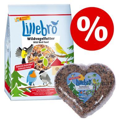 Tutustumispaketti: Lillebro-linnunruoka, perinteinen tai kuorittu + siemensydän - 4 kg Lillebro-linnunruoka, kuorittu + 550 g siemensydän