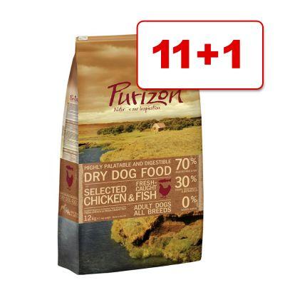 Purizon koiranruoka 12 kg: 11 + 1 kg kaupan päälle! - Adult Fish
