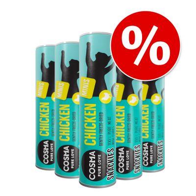 Cosma Snackies Minis -säästöpakkaus - 5 x kana (130 g)