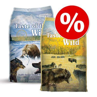 Blandat ekonomipack: 2 x 13 kg Taste of the Wild hundfoder! - High Prairie + Pine Forest