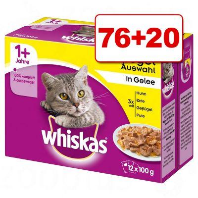Whiskas Pouches kissanruoka 96 x 85 / 100 g: 76 + 20 kaupan päälle! - 7+ siipikarjavalikoima kastikkeessa