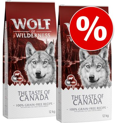 "Wolf of Wilderness ""The Taste Of"" -säästöpakkaus 2 x 12 kg - Mix: Canada, Mediterranean"
