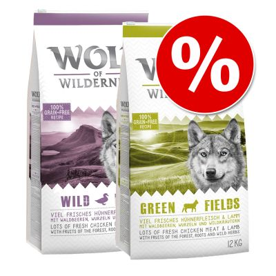 Wolf of Wilderness -säästösekoitus 2 x 12 kg - mix: Green Fields + Wild Hills