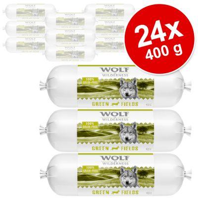 Wolf of Wilderness -koiranmakkara säästöpakkaus 24 x 400 g - Mix: ankka, lammas, canada