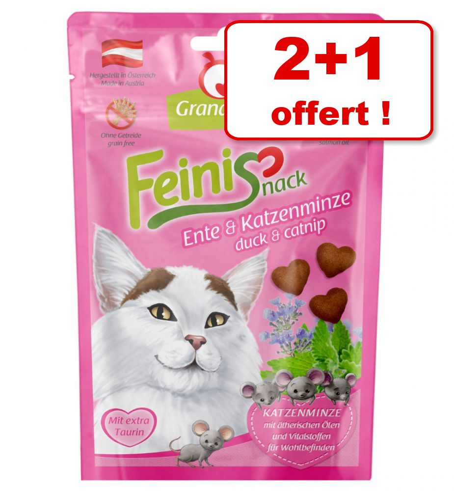 2x50g volaille, herbe à chat Feinis GranataPet friandises pour chat + 50g offerts!