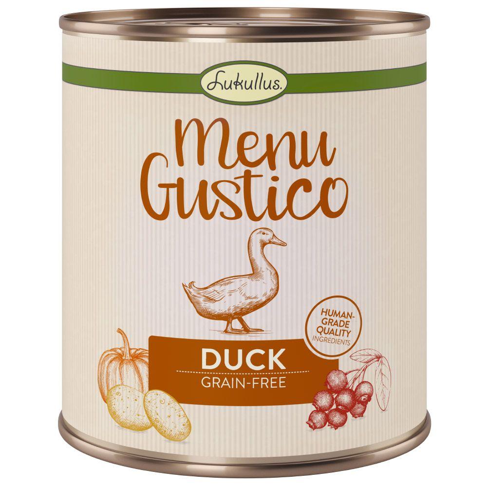 6x800g Duck, Carrot, Cowberries, Rosemary Menu Gustico Lukullus Wet Dog Food