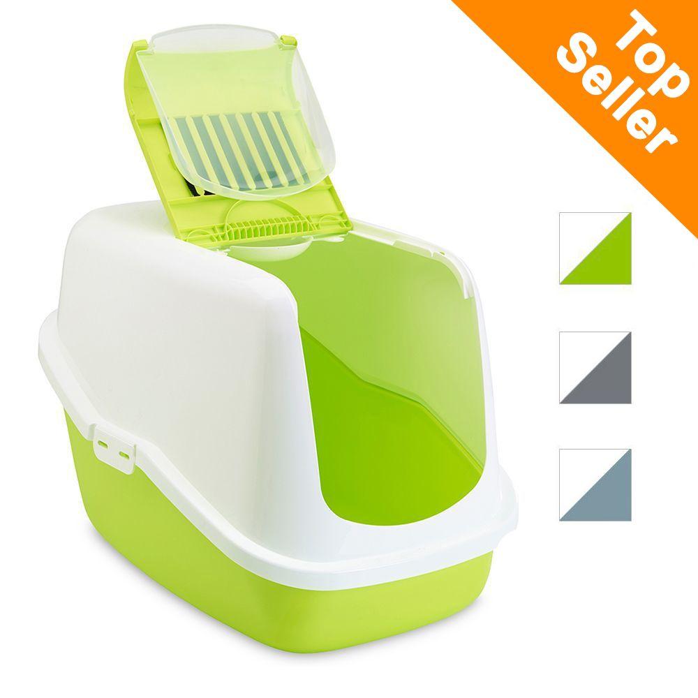 Savic Katzentoilette Nestor - Starterset: Toilette earth blue/weiß + 2 extra Filter + 12 Bag it up