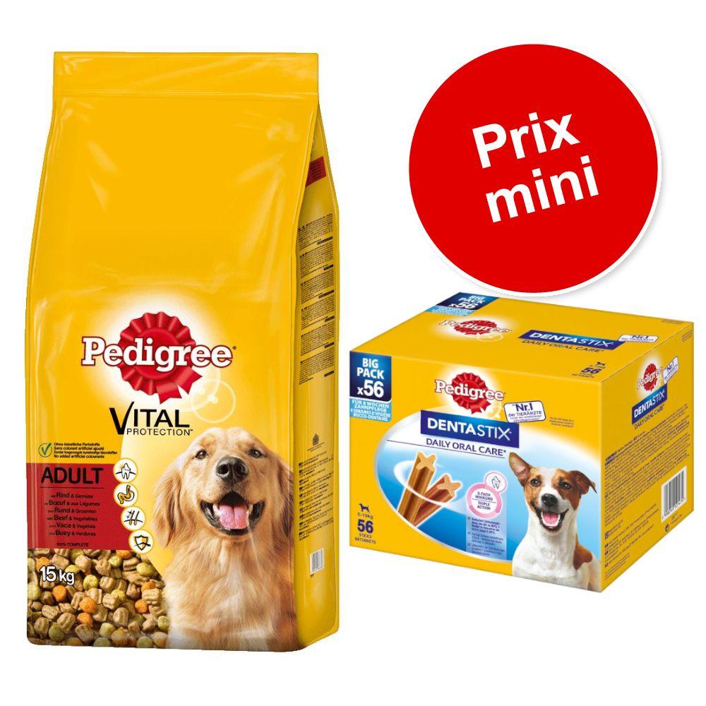 15kg Adult bœuf, légumes Pedigree + 56 friandises Dentastix Daily Oral Care Mini Pedigree pour chien