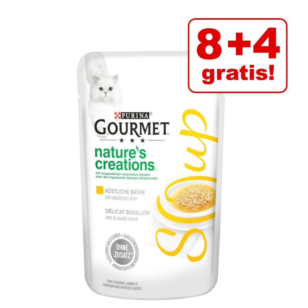 8 + 4 på köpet! 12 x 40 g Gourmet Soup kattmat - Kyckling