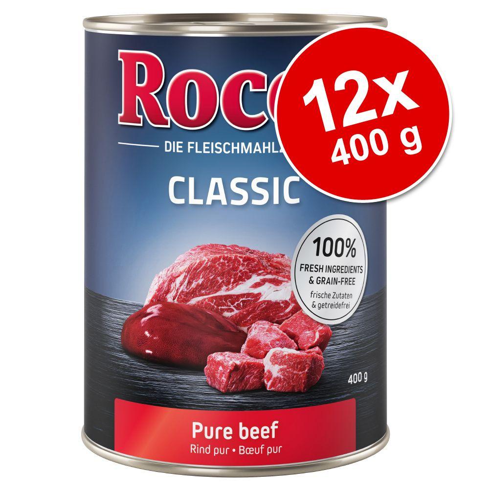 Rocco Classic 12 x 400 g hundfoder - Nötkött & kyckling