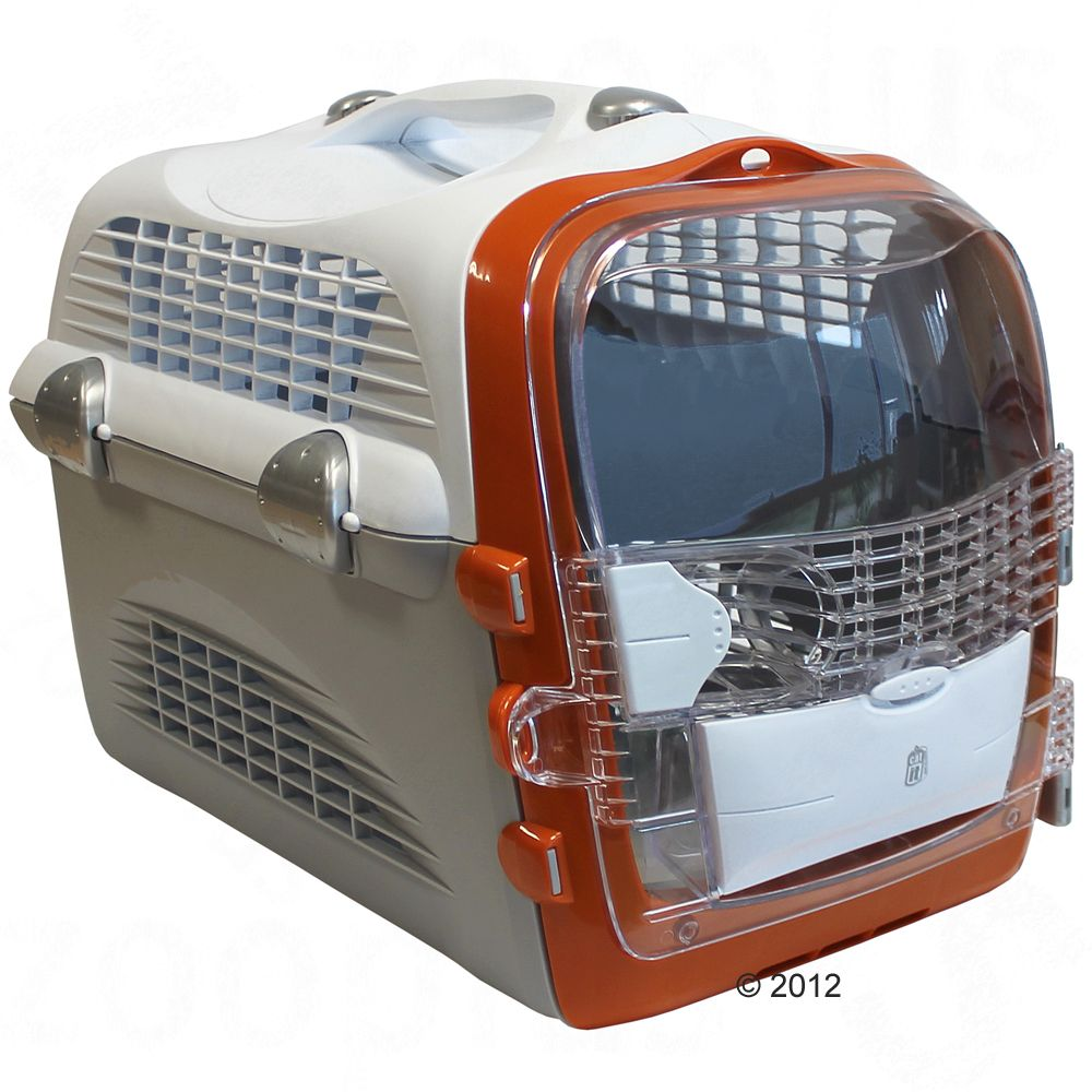Cage de transport Pet Cargo Cabrio pour chat - l 33 x P 51 x H 35 cm (blanc / gris / orange)
