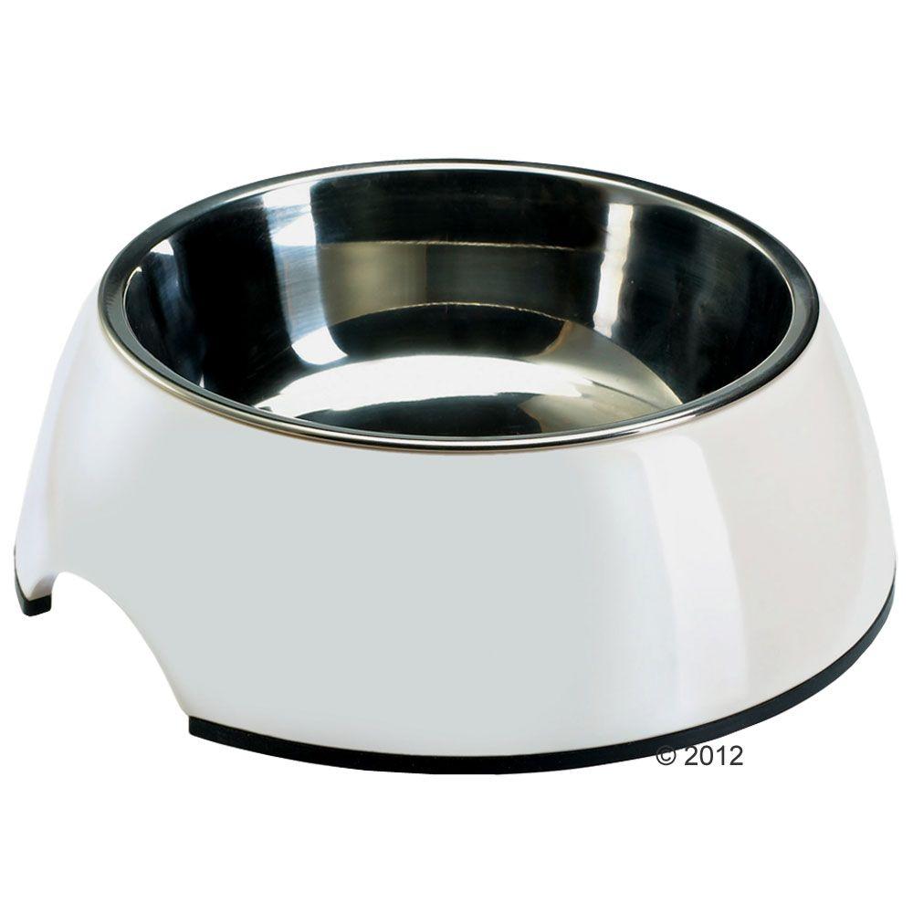 Hundenapf aus Melamin weiß, mit Edelstahl-Inlet - Sparset 2 x 700 ml, Ø 17,5 cm