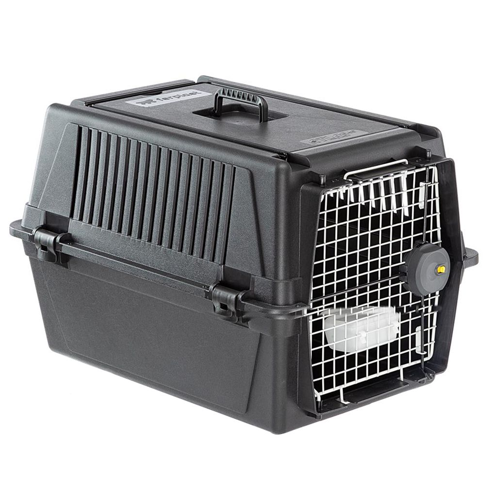 Cage de transport Ferplast Atlas Professional, noir pour chien - taille 40 : l 49 x P 68 x H 45,5 cm