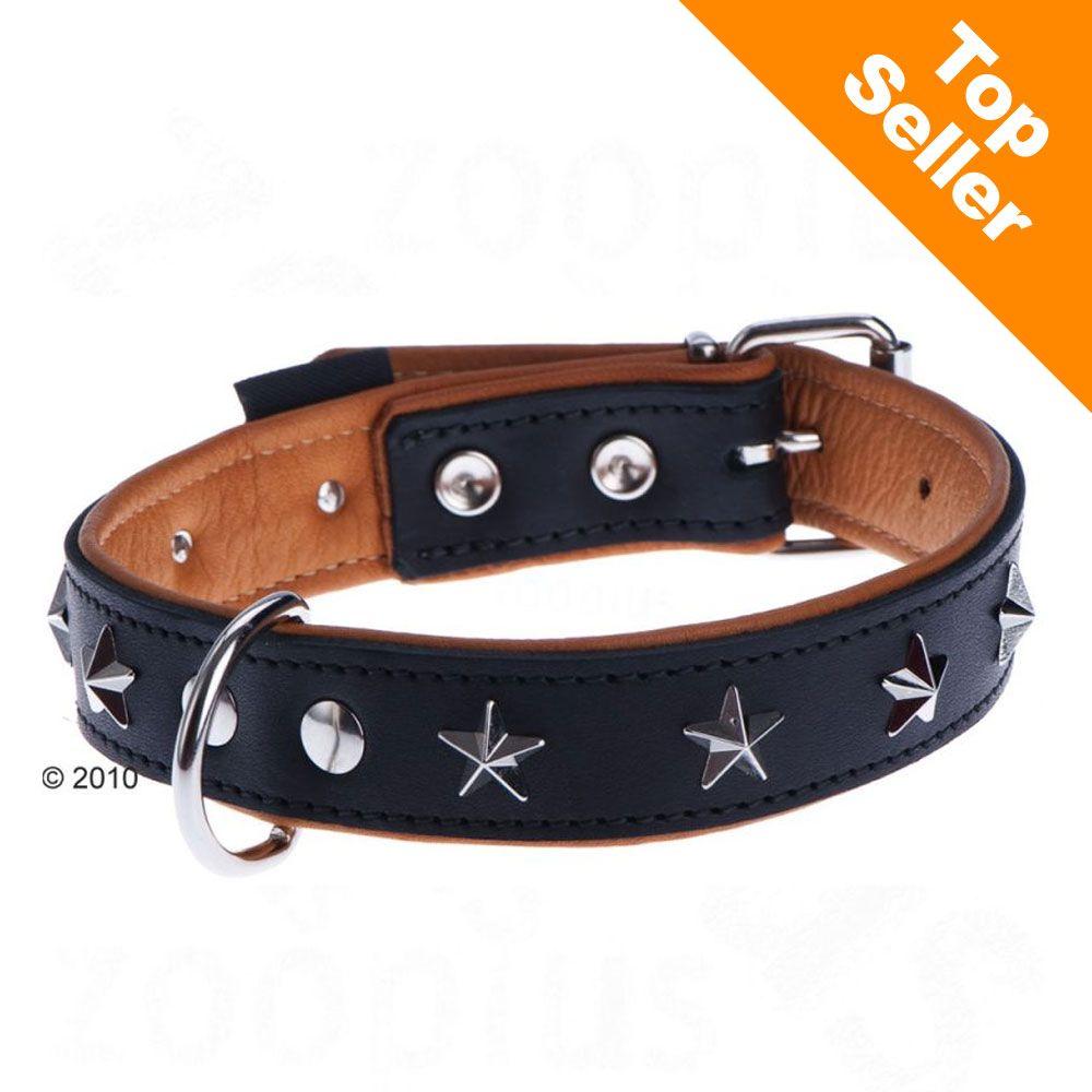 Collier en cuir Heim Stars, noir pour chien - taille 40 : tour de cou 26-37 cm