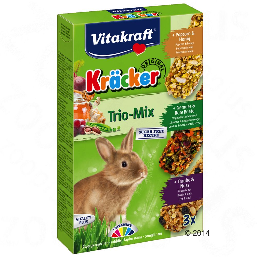 Image of Vitakraft cracker conigli nani - Trio Mix - 3 x 3 pz Trio Mix verdure, noci, frutti di bosco