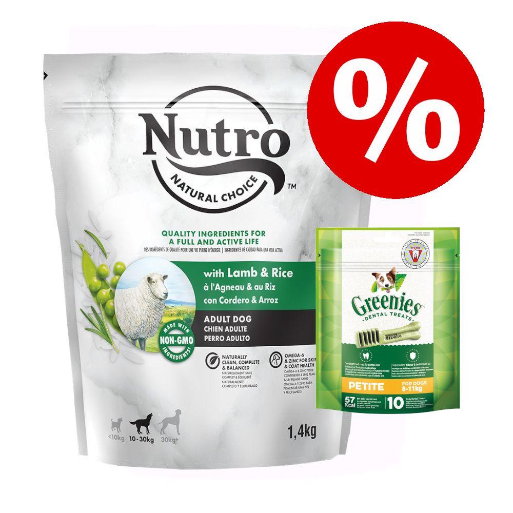 1,4 kg NUTRO Trockenfutter + Greenies Kausnack zum Sonderpreis! - Wild Frontier Adult mit Hirsch & Rind + Greenies: Petite