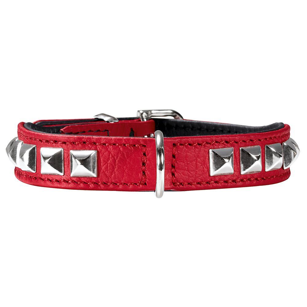 Collier HUNTER Rocky Petit rouge/noir pour chiot et petit chien - taille 30 : tour de cou 23-27 cm, l 1,6 cm