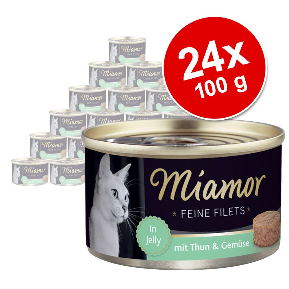 Sparpaket Miamor Feine Filets 24 x 100 g - Heller Thunfisch & Gemüse in Jelly