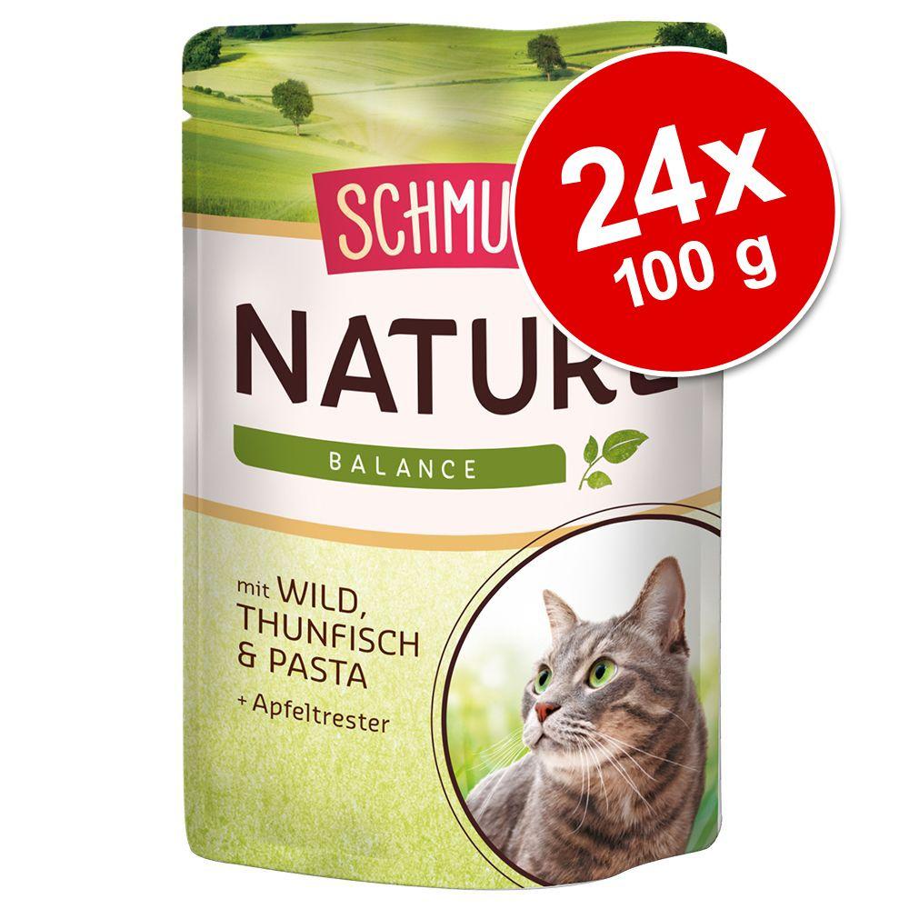 Ekonomipack: Schmusy Nature Balance Mix 24 x 100 g - Blandpack: Kyckling, Nötkött, Kalkon + Vilt