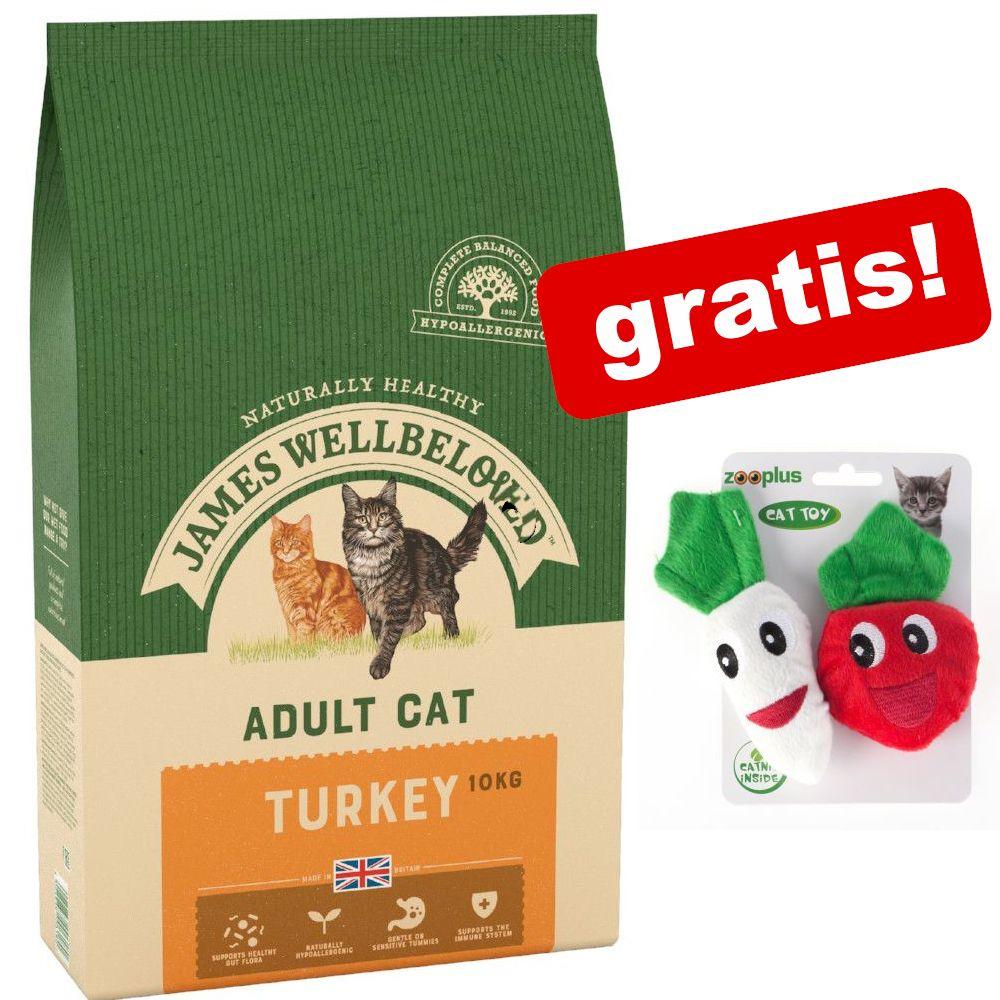 8 kg / 10 kg James Wellbeloved + Catnip Veggies kattleksaker på köpet! - Senior Turkey & Rice (2 x 4 kg)