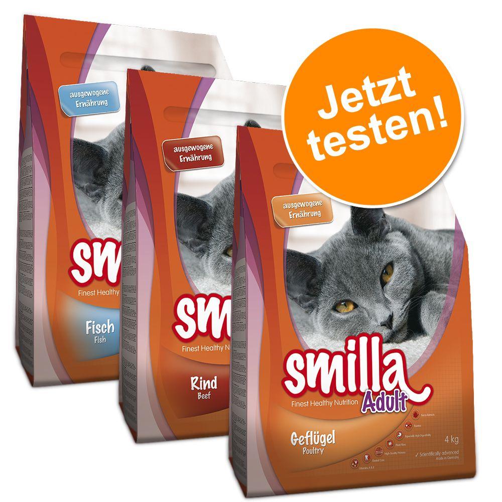 3 x 4 kg Gemischtes Paket Smilla Trockenfutter Adult (Geflügel, Rind, Fisch)