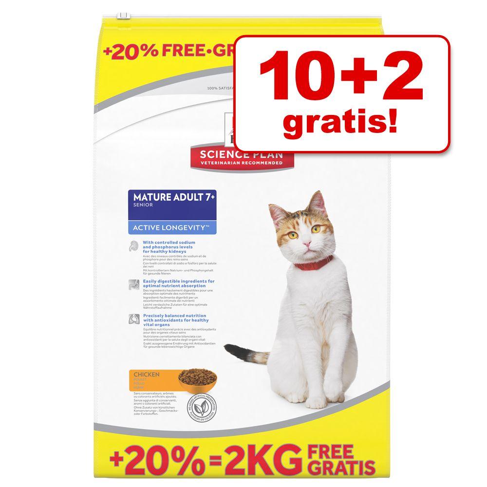 10 + 2 kg gratis! 12 kg Hill´s Feline Trockenfu...