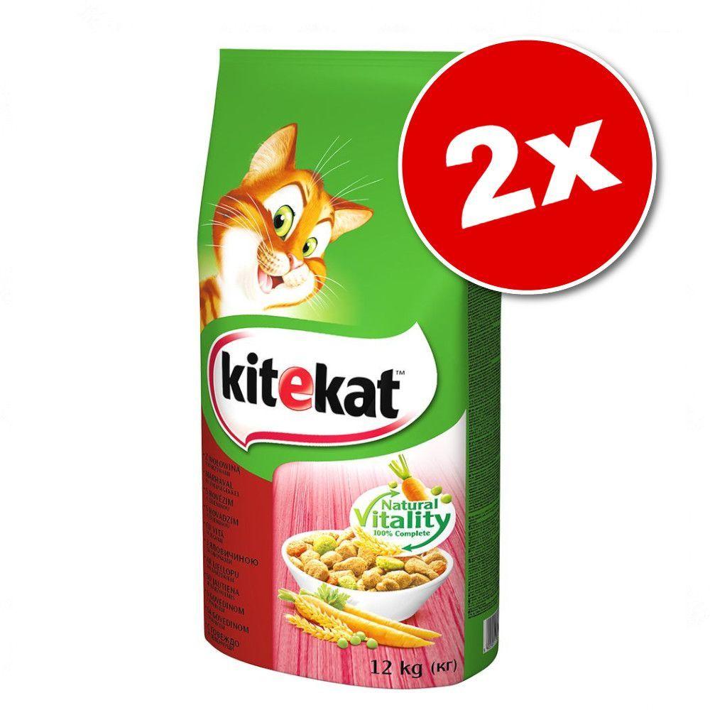 2x12g Kitekat Adult poulet, légumes - Croquettes pour chat