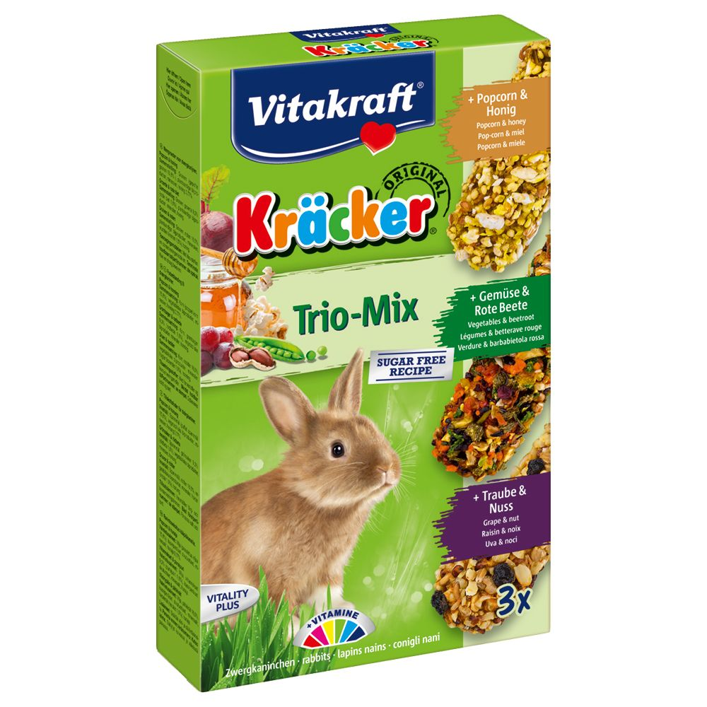 Vitakraft Dwarf Rabbit Cracker Sticks Trio-Mix - 3 x 3 Pack (Popcorn, Vegetables, Grapes)