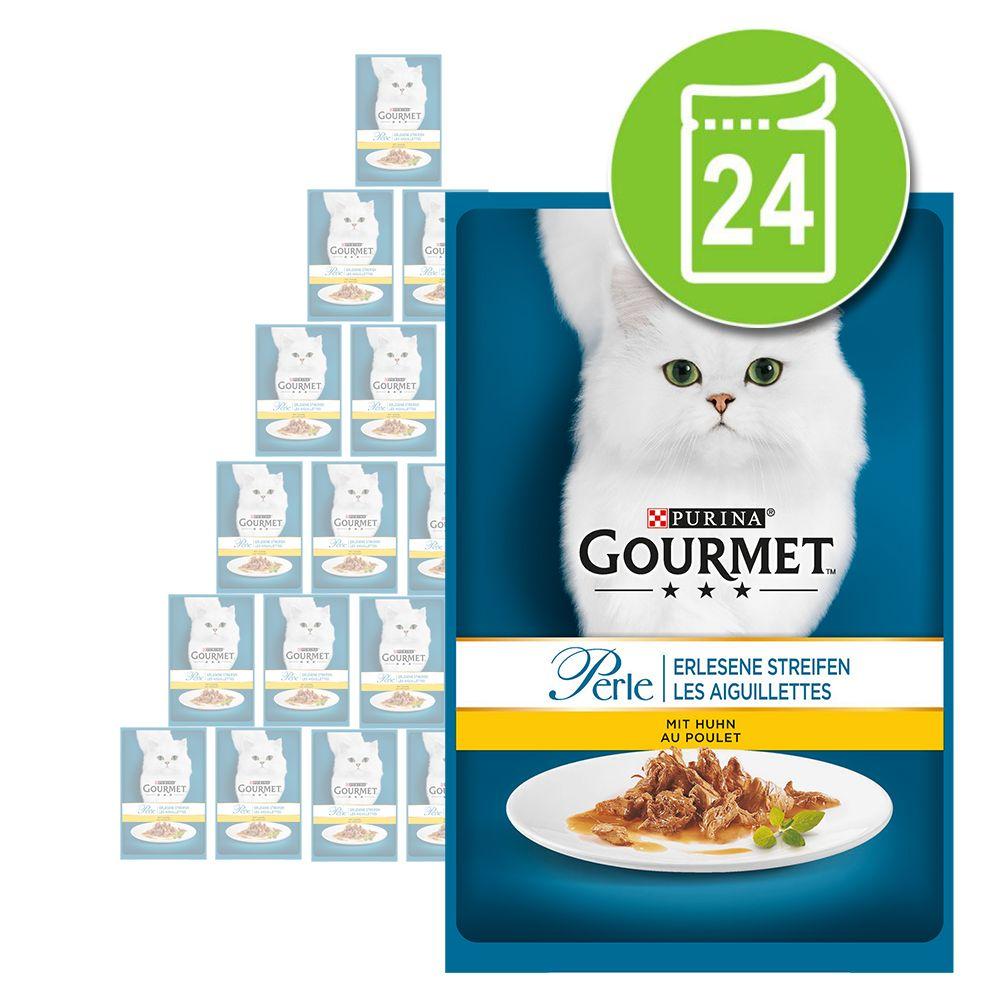 Sparpaket Gourmet Perle 24 x 85 g - Erlesene Streifen mit Huhn