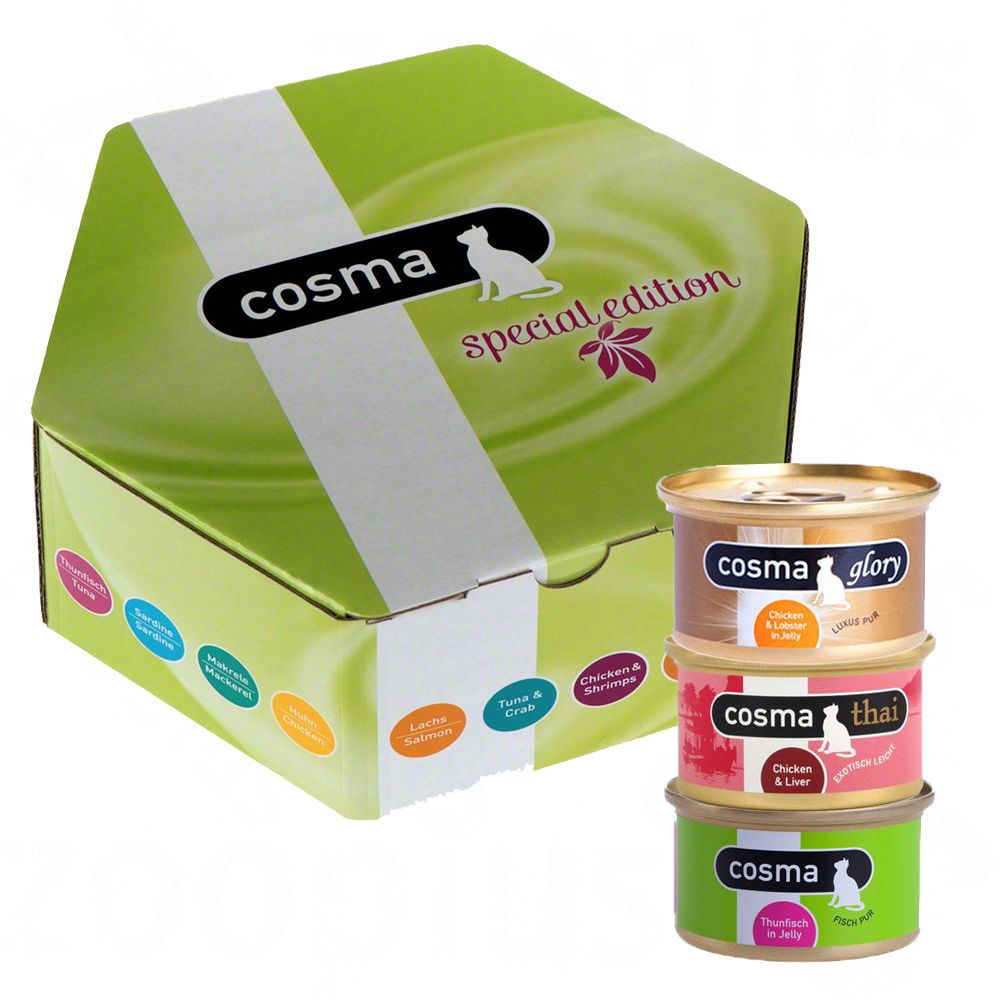 14 x 85g Cosma Gourmet Box Mixed Pack + Chicken Cosma Snackies Free