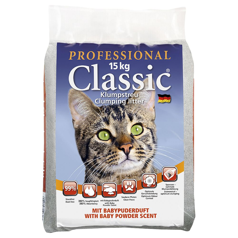 Professional Classic Cat Litter with Baby Powder Scent - 15kg