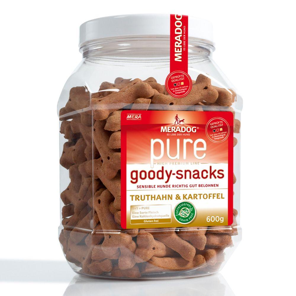 Meradog pure Goody Snacks Tacchino & Patate (senza cereali) - Set risparmio: 3 x 600 g