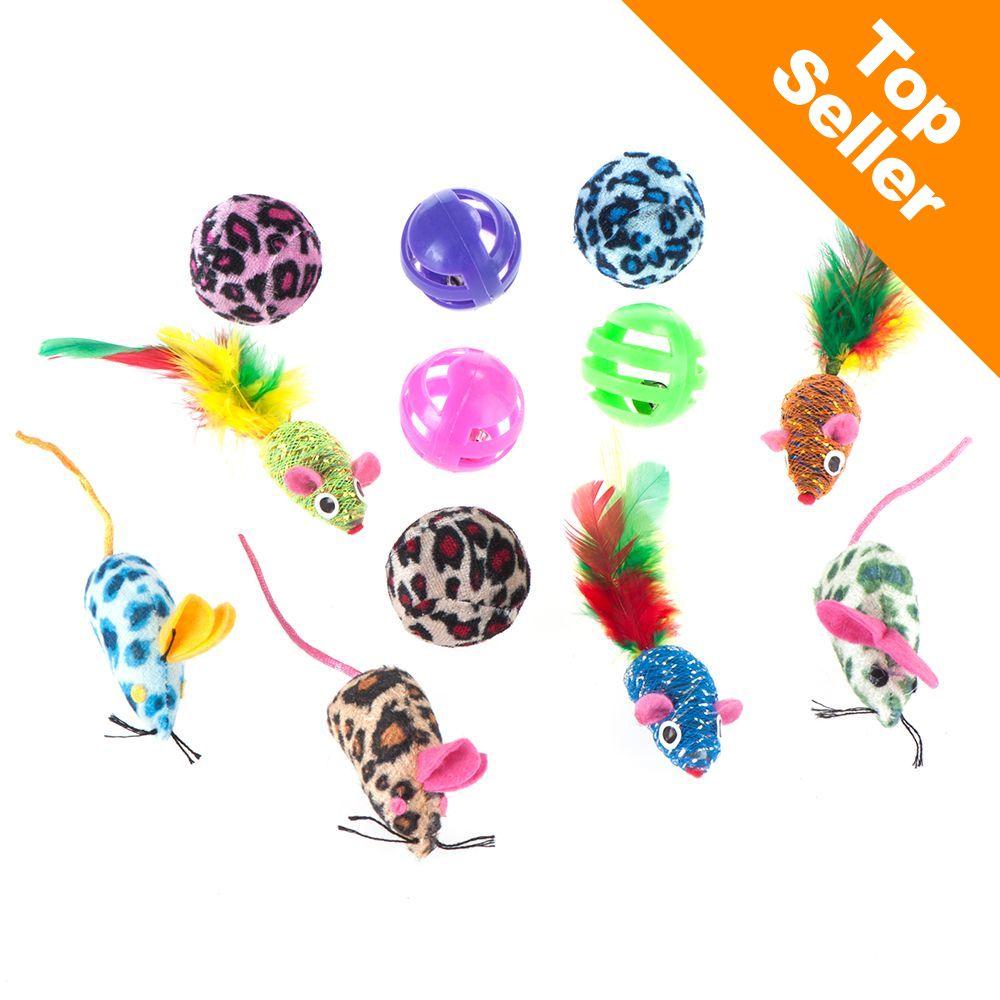 Zestaw zabawek dla kota z piłkami i myszkami - Zestaw 12 elementów