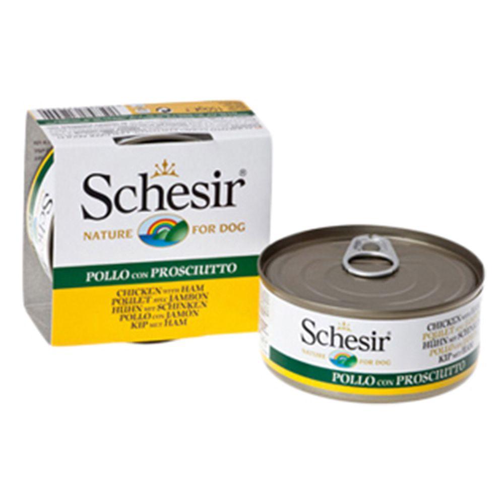 150g Schesir Wet Dog Food - 20 + 4 Free!* - Chicken Fillet with Ham (24 x 150g)
