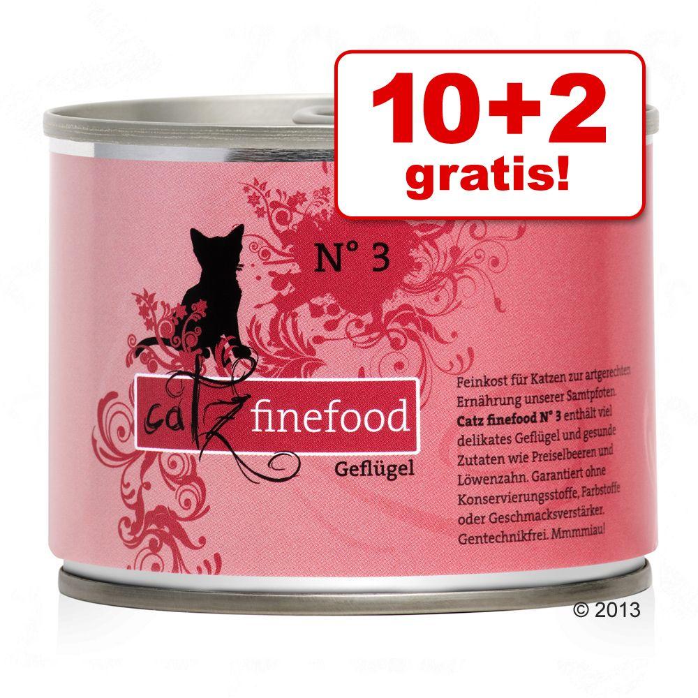 10 + 2 gratis! 12 x 200 g Catz Finefood - Huhn & Thunfisch