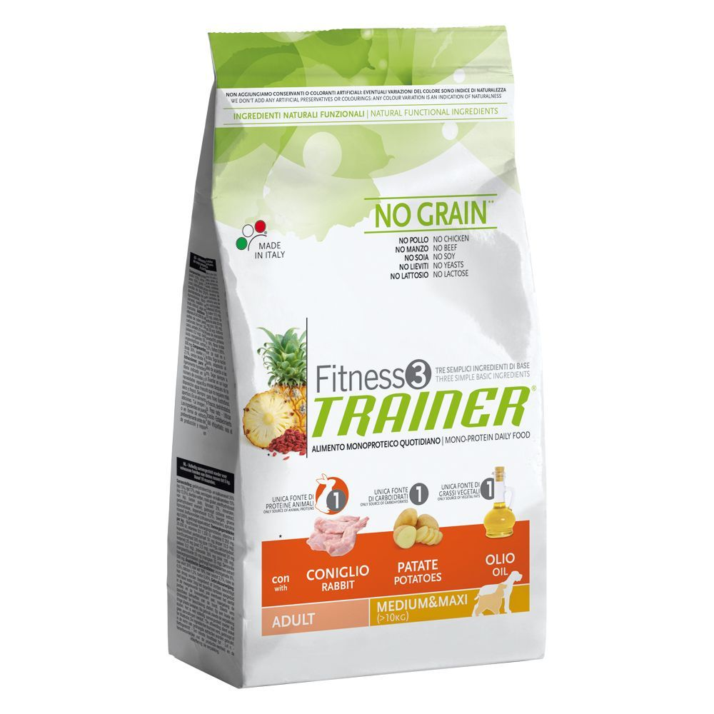 Image of Trainer Fitness 3 Adult Medium/Maxi No Grain Coniglio & Patate - 12,5 kg