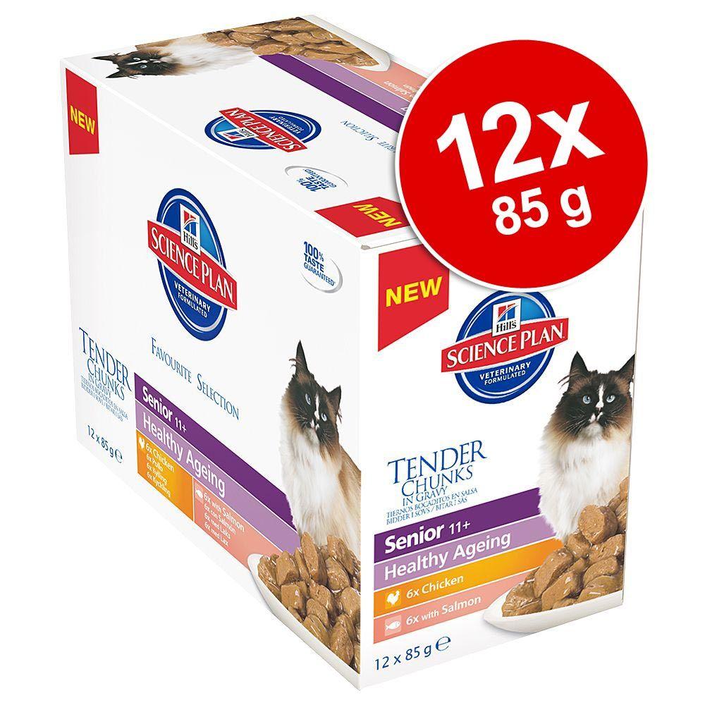 Korzystny pakiet Hill's Feline Senior Healthy Ageing 11+, 12 x 85 g - Kurczak i łosoś