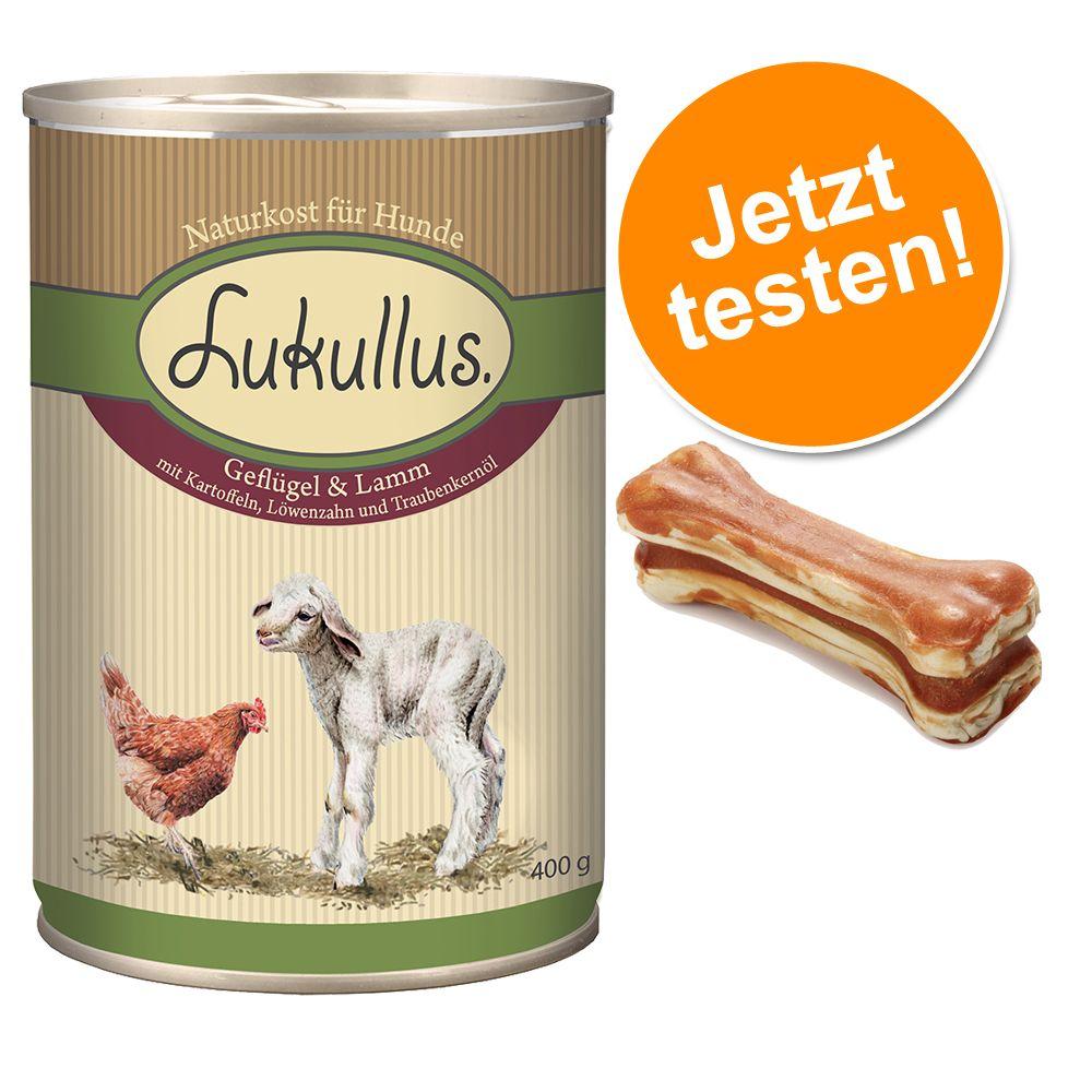 Lukullus Probierpaket 6 x 400 g/800 g + 12 x 5 cm Kauknochen - Kaninchen & Wild 6 x 400 g