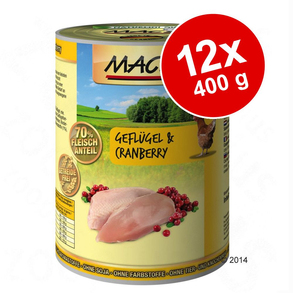 Ekonomipack: MAC's Cat kattfoder 12 x 400 g - Blandpack: Lax & kyckling + Anka, kalkon & kyckling