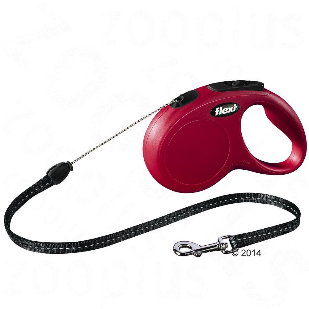 Smycz Flexi New Classic S czerwona, 5 m - Lampka LED-Lighting-System