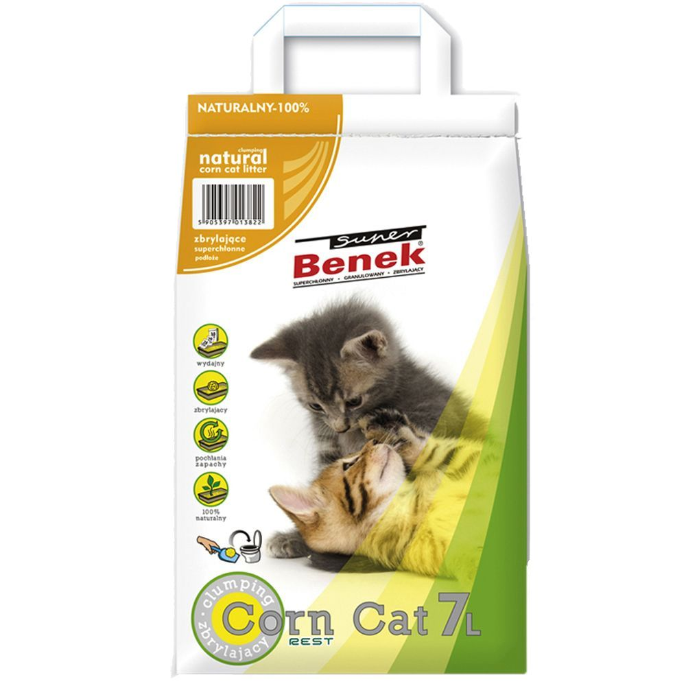 Super Benek Corn Cat Natural Clumping Litter