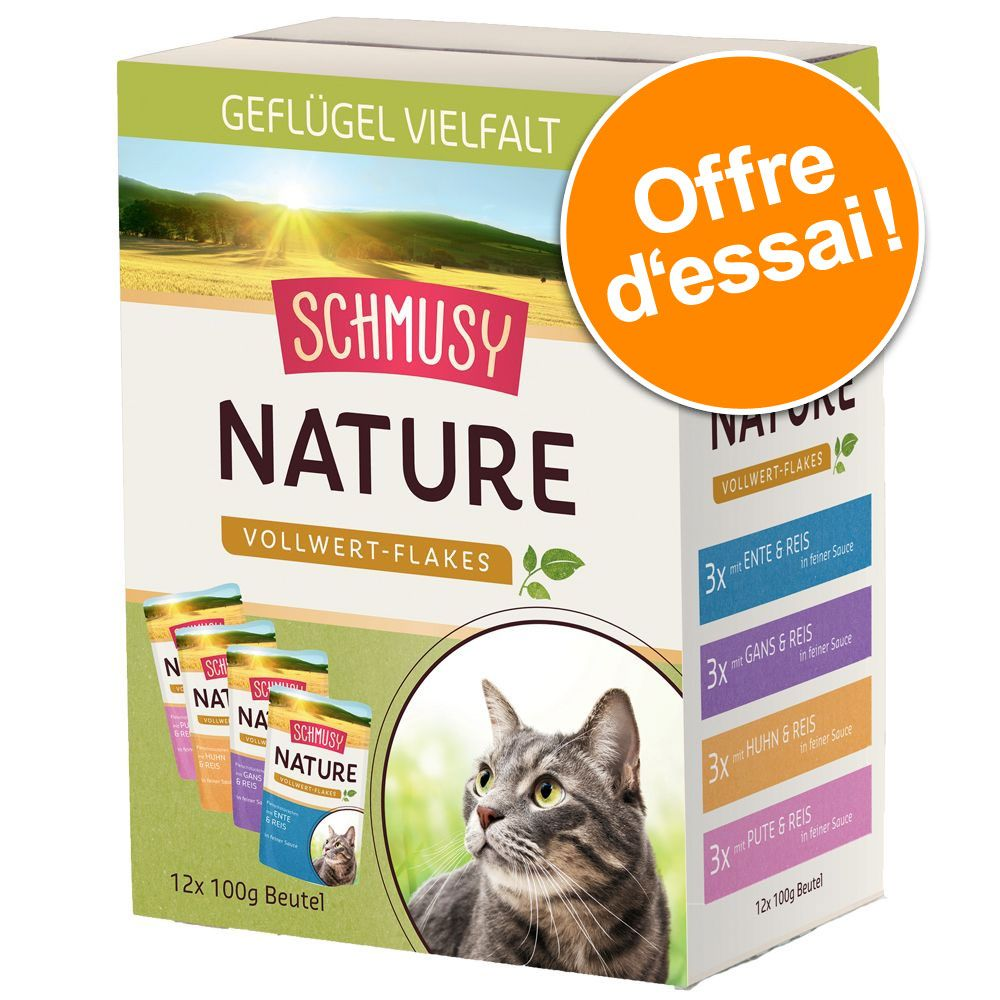 Offre découverte Schmusy Nature Vollwert Flakes 12 x 100 g - 12 x 100 g