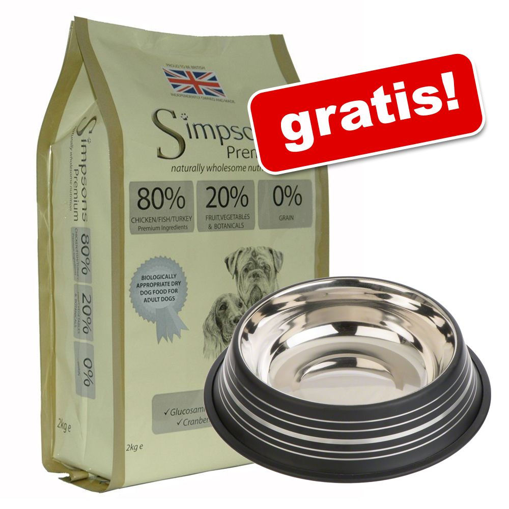 12 kg Simpsons Premium + Silver Line hundskål på köpet! - Adult Sensitive Salmon & Potato