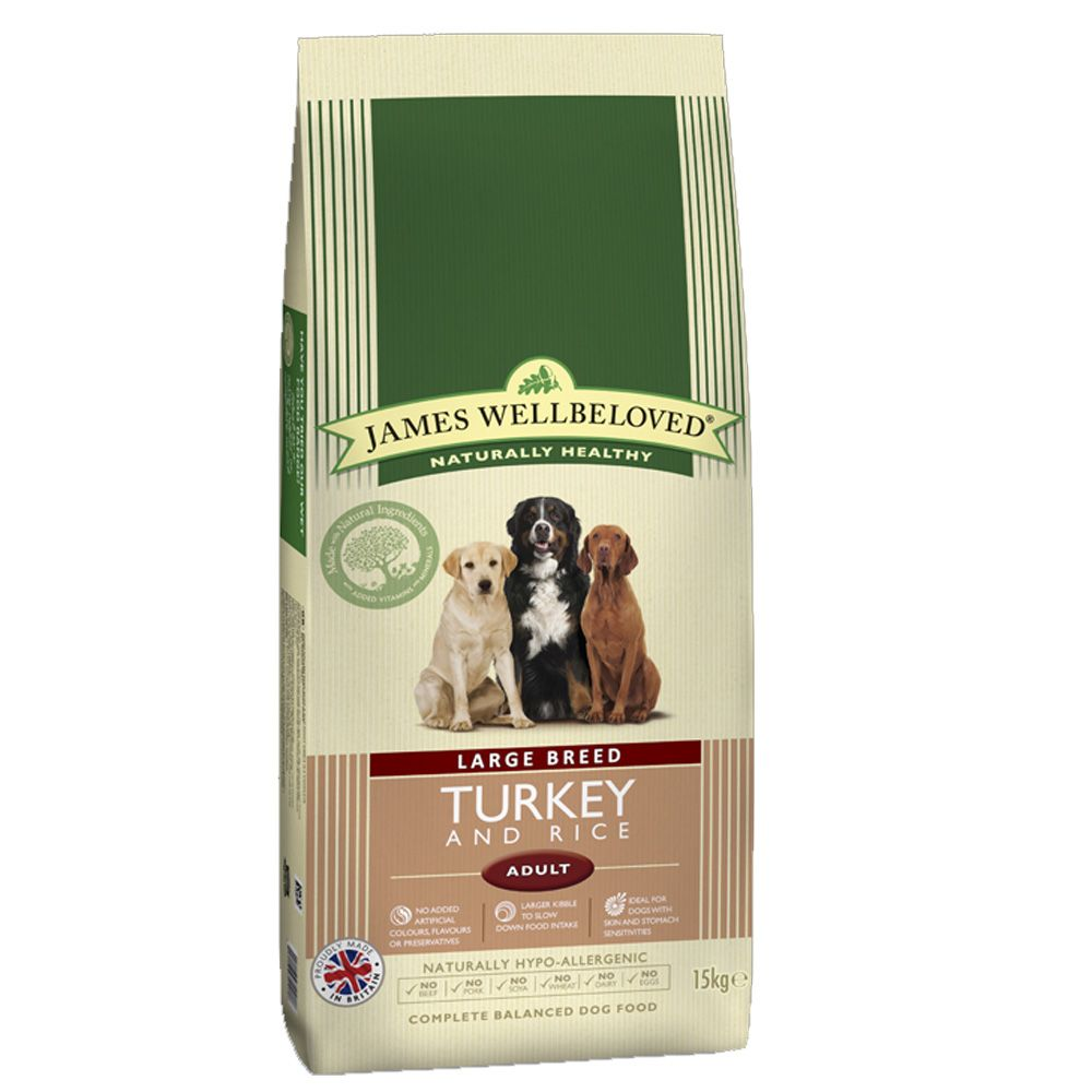 James Wellbeloved Adult Large Breed - Turkey & Rice  - Economy Pack: 2 x 15kg