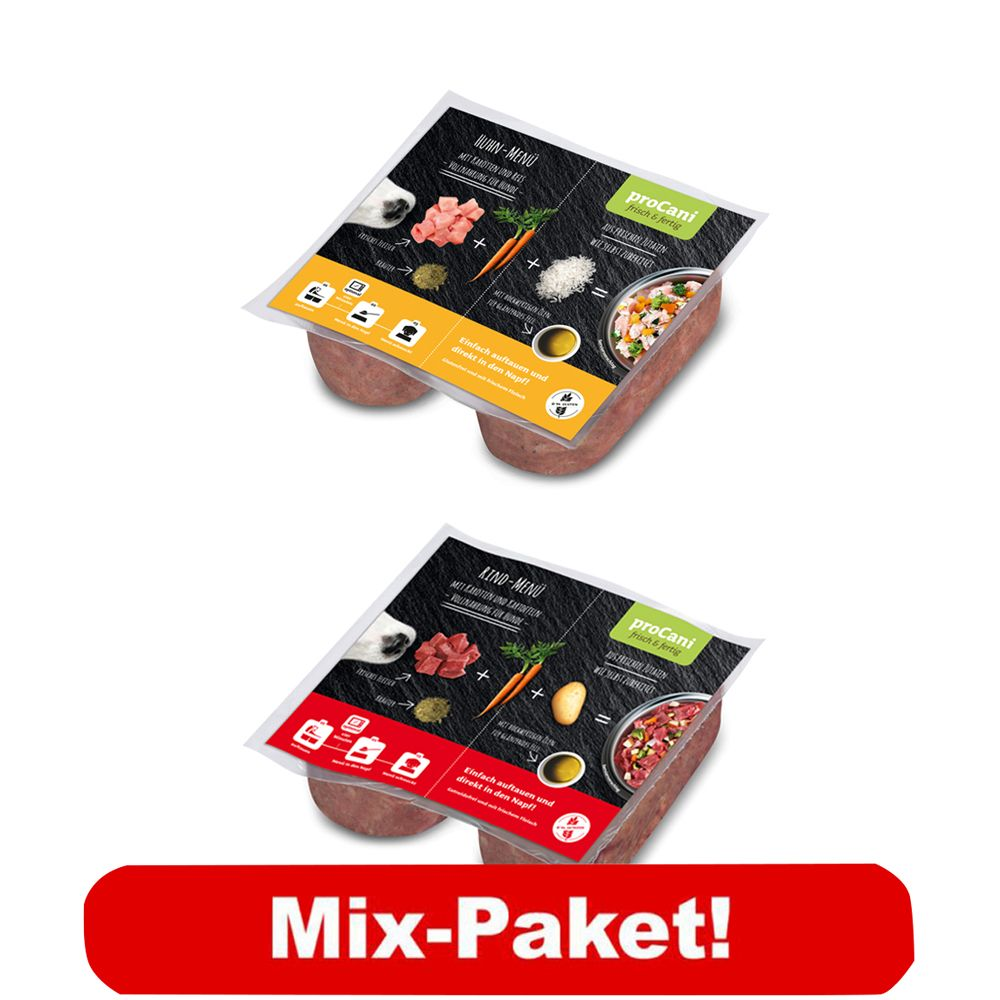proCani BARF Basis Menü Paket Huhn & Rind - 20 x 2 x 200 g